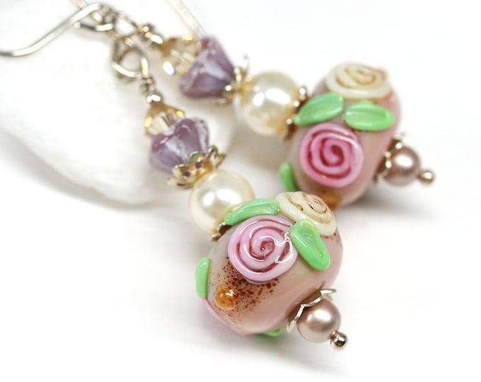 Pink roses beaded earrings, Feminine jewelry, Floral women earrings, Artisan lampwork glass jewelry
