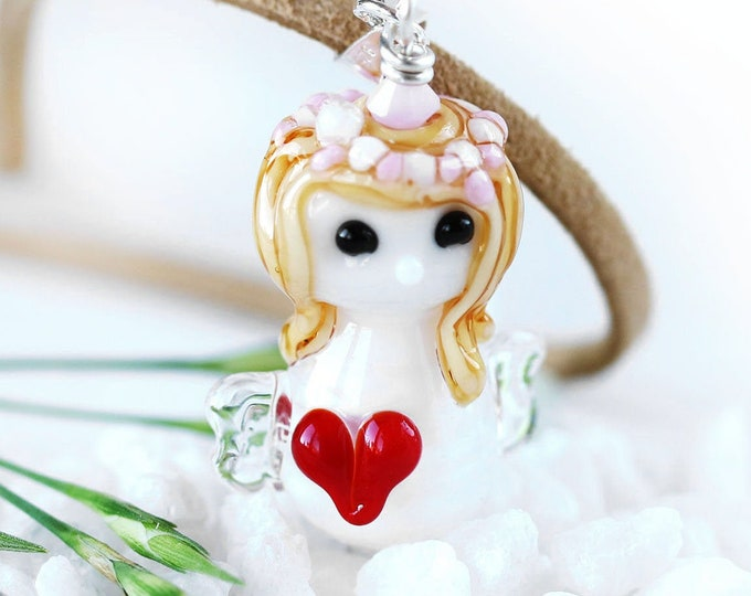 Valentines angel pendant, Fantasy jewelry, Angel with red heart necklace, Angel jewelry, Handmade lampwork glass by MayaHoney