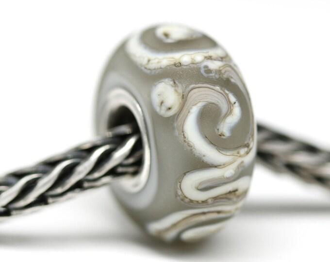 Gray European bracelet bead with scrolls, Big hole lampwork handmade bead, European style charm