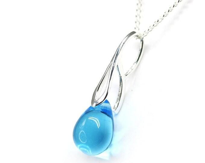 Sea blue drop pendant, Aqua Blue glass teardrop briolette pendant, Sterling silver chain, Mermaid tear jewelry by MayaHoney