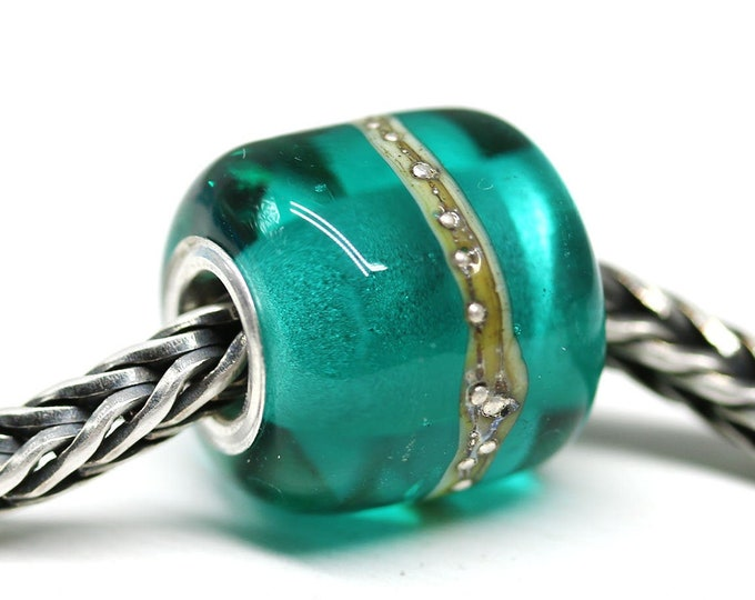 Teal green European style charm, Artisan lampwork large hole tube bead, Beach jewelry SRA by MayaHoney