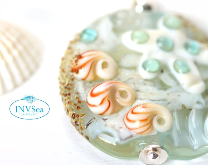 Pale blue seashell starfish pendant, Marine life coastal jewelry, One of a kind handmade lampwork glass bead necklace