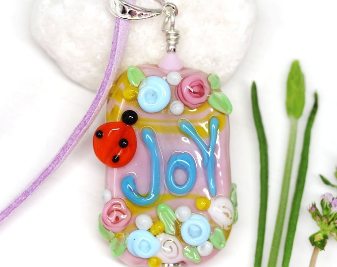 Pink large pendant, Motivation jewelry, Pink blue flower necklace with word Joy, Handmade lampwork glass, Inspiration jewelry by MayaHoney