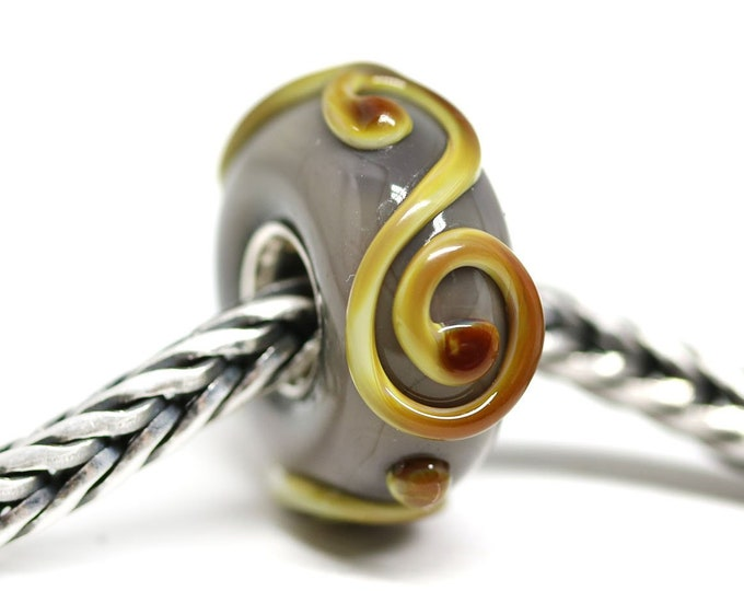 Brown Yellow European bracelet charm bead, Large hole handmade lampwork glass bead, Sterling silver cored, European style jewelry