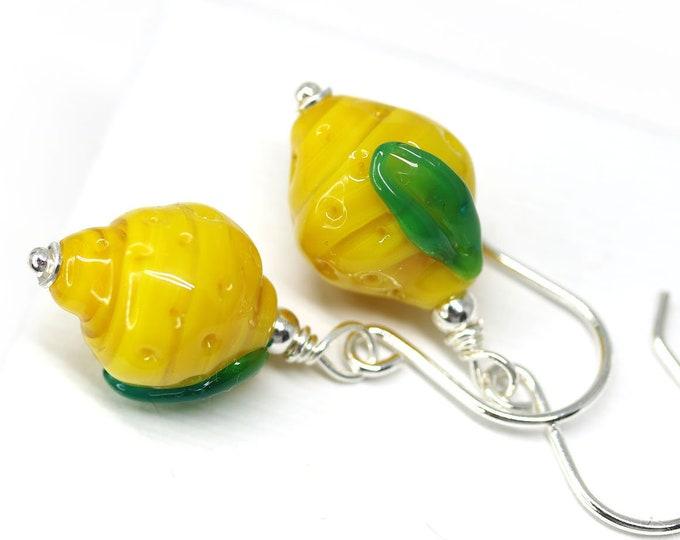Lemon fruit earrings, Vegan jewelry, Sterling silver yellow beaded lampwork earrings