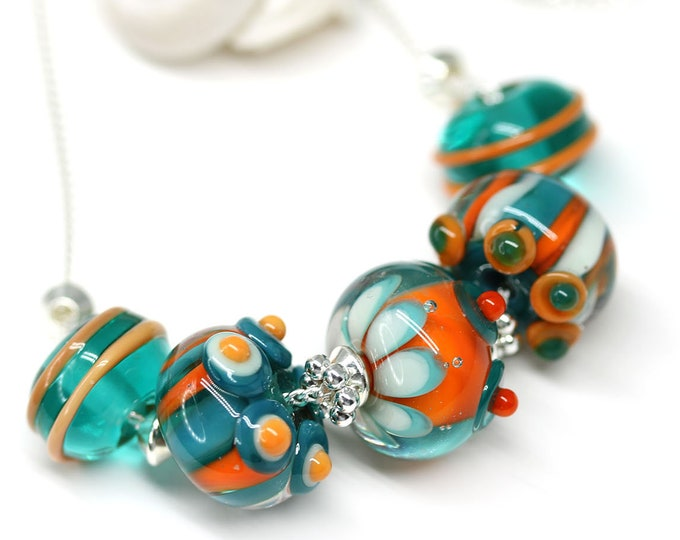 Teal orange beaded necklace, Handmade lampwork glass jewelry, Sterling silver chain whimsical necklace, Green orange jewelry by MayaHoney