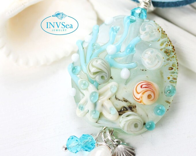 Seashell pendant with white pearl, Blue beaded beach necklace with starfish, One of a kind handmade lampwork glass jewelry