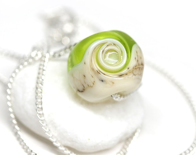 Light green simple dainty necklace, Minimalist jewelry, Artisan lampwork, Sterling silver chain necklace