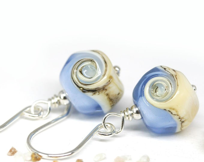 Blue beaded earrings, Handmade Lampwork Sapphire blue dangle earrings, Murano glass summer jewelry by MayaHoney