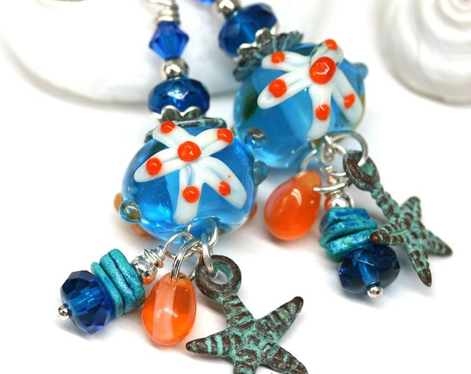 Sea inspired earrings, Blue glass long beaded earrings with starfish, Nautical beach jewelry, Handmade Lampwork