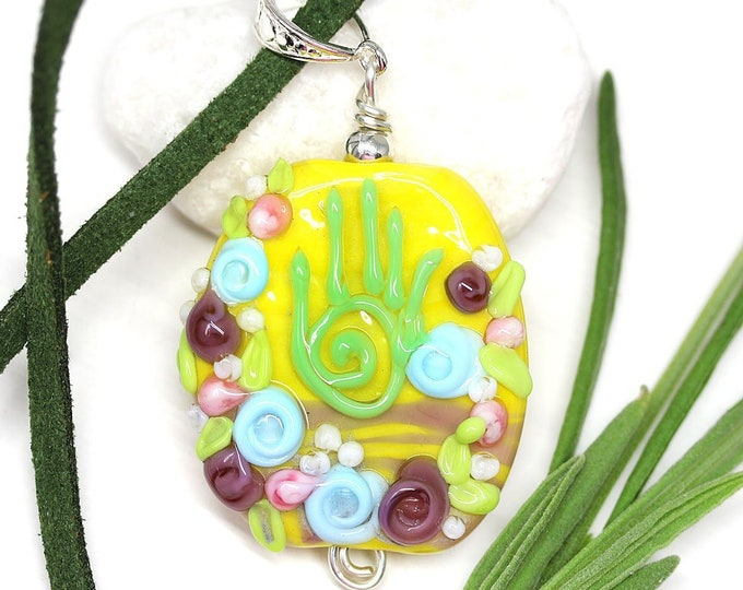 Yoga jewelry, Yellow floral necklace with hamsa hand, mantra jewelry, Handmade lampwork glass, Healing hand pendant by MayaHoney