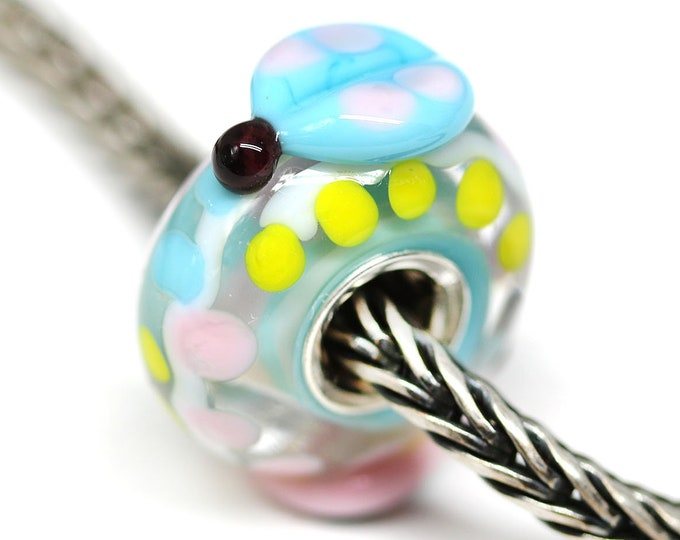 Ladybug bracelet bead, Silver cored European style charm, Blue Pink yellow Handmade lampwork glass Large hole bead
