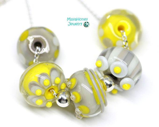 Yellow gray necklace, Handmade lampwork glass beaded jewelry, Yellow gray jewelry, Sterling silver chain necklace