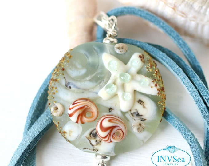 Seashell starfish beach pendant, Seaglass blue jewelry, Necklace with starfish, One of a kind handmade lampwork glass jewelry