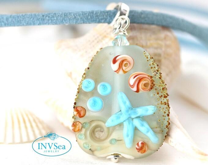 Seashell beach pendant, Seaglass blue beaded sea jewelry, Necklace with starfish, One of a kind handmade lampwork glass jewelry