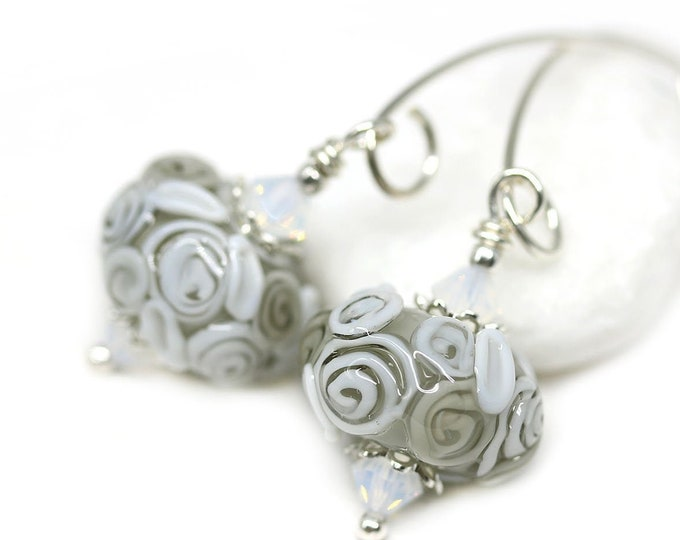 Roses earrings, Elegant floral jewelry, Gray lampwork glass handmade beaded Sterling silver long earrings