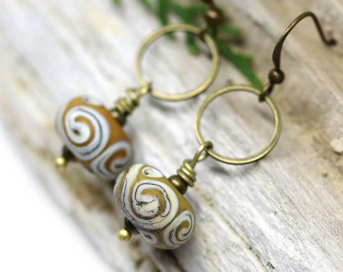 Yellow ocher long brass earrings, Handmade Lampwork glass jewelry, Beaded hoop earrings for women