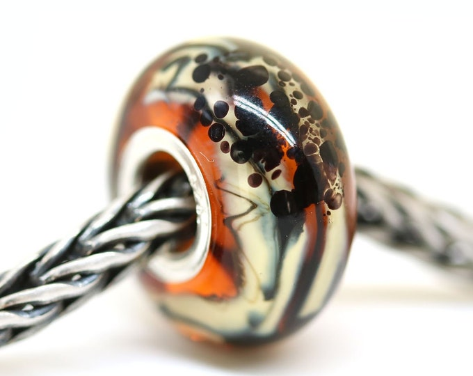 Brown topaz European bracelet charm, Handmade Lampwork glass Large hole bead, European style jewelry