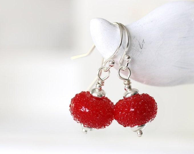 Small red earrings, Handmade lampwork glass jewelry, Sterling silver beaded red dangle earrings by MayaHoney, Minimalist jewelry