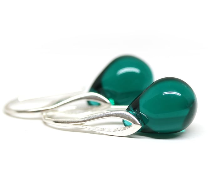 Dark teal green beaded earrings, Czech glass jewelry, Sterling silver Minimalist teardrop dangle earrings by MayaHoney