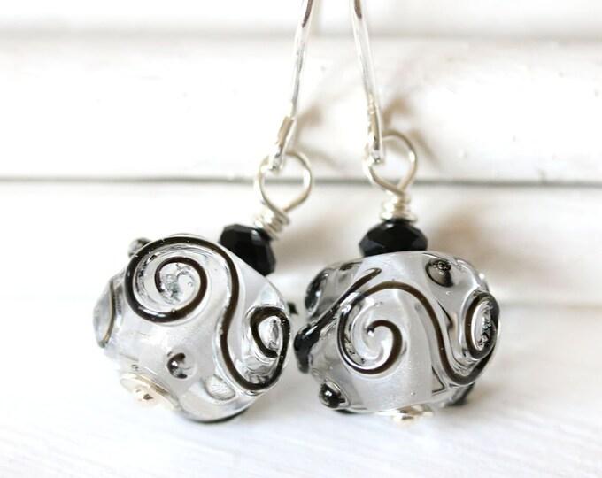 Handmade lampwork glass earrings, Crystal clear with black swirls Sterling silver beaded earrings, Artisan Lampwork jewelry