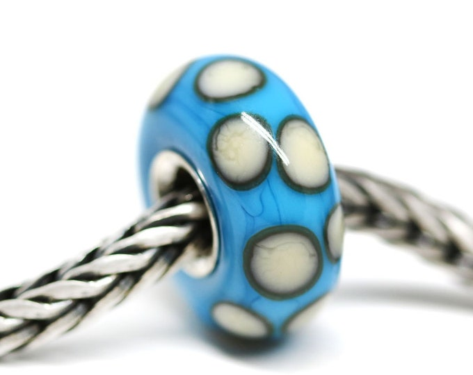 Blue bracelet bead with white dots, European style charm, Turquoise blue Big hole handmade lampwork glass bead, Sterling silver lined
