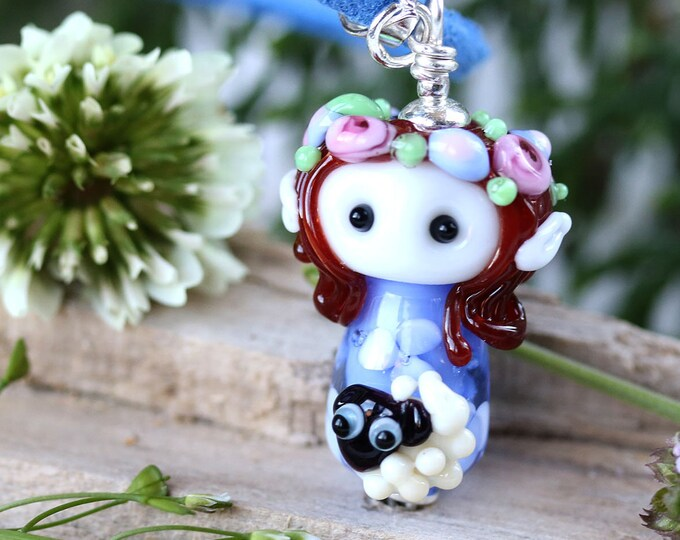 Elf girl with sheep necklace, Fantasy jewelry, Floral Fairy pendant, Handmade lampwork glass by MayaHoney