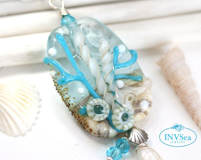Water blue beaded pendant with white pearl, Beach jewelry, One of a kind handmade lampwork glass necklace