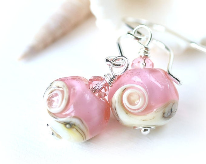 Fancy pink earrings, Handmade lampwork glass bead earrings, Pink jewelry gift for girlfriend