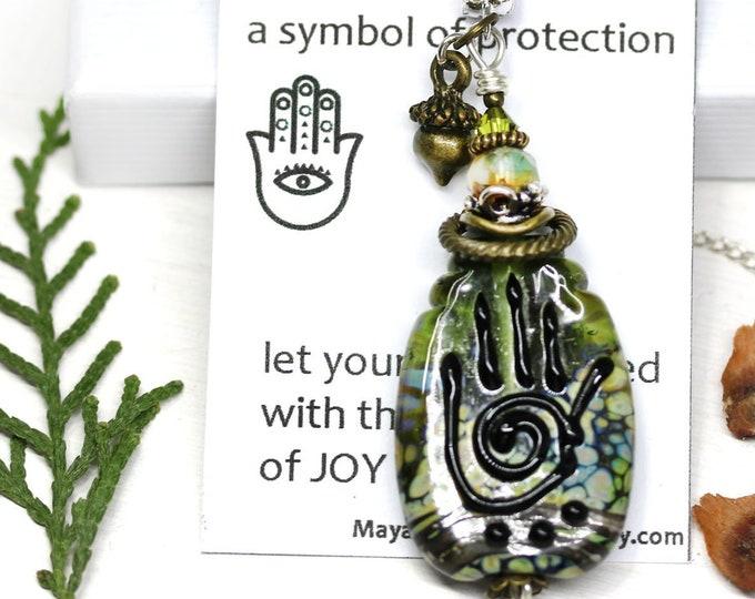 Beaded Yoga necklace, Olive green Healing hand pendant, Hamsa Hand of Fatima pendant, Artisan lampwork glass OOAK jewelry