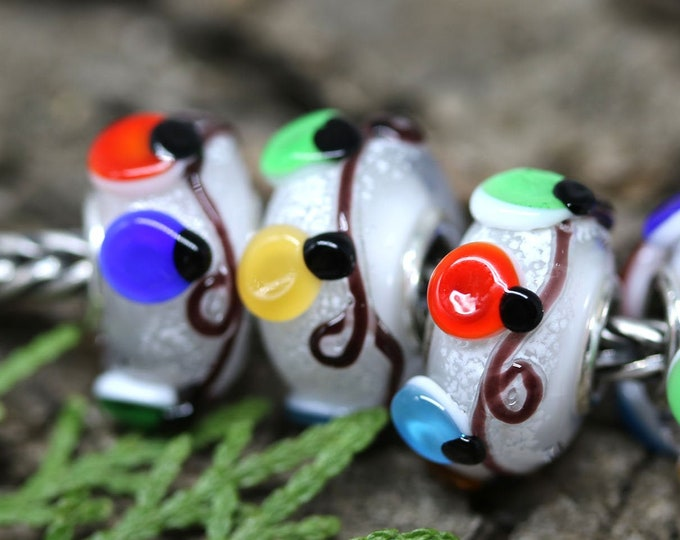1pc Christmas holiday jewelry European style bracelet charm, Christmas lights, Festive lampwork large hole bead