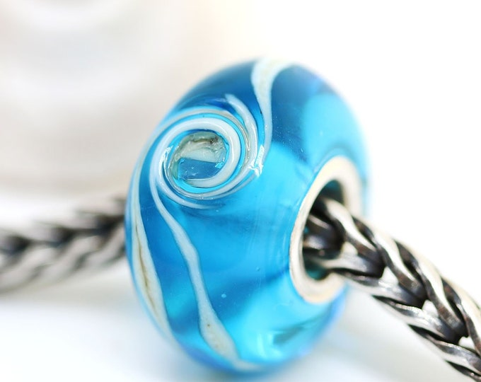 Bright blue European bracelet bead, European style charm, Sea colored jewelry, Handmade glass lampwork Large hole bead