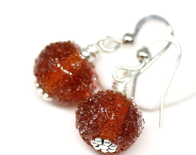 Brown topaz beaded earrings, Handmade Lampwork jewelry, Brown glass dangle earrings
