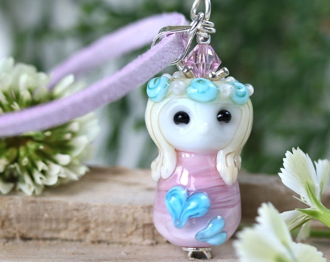 Pink princess necklace, Girly fantasy jewelry, Valentines day gift, Fairy pendant, Handmade lampwork glass by MayaHoney