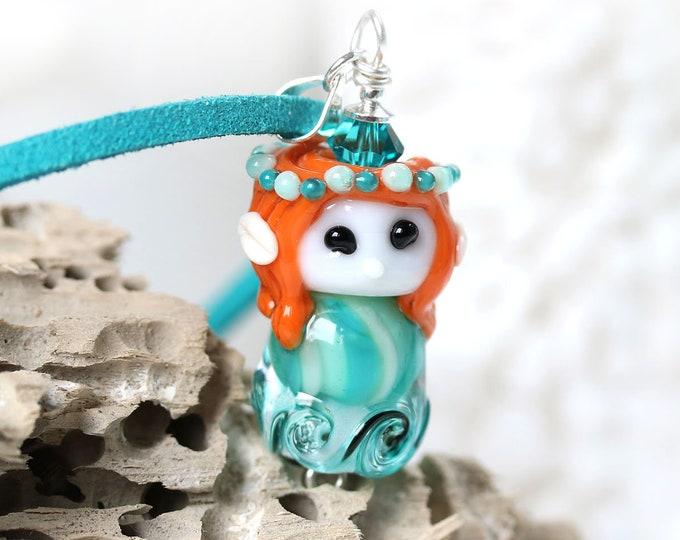 Red hair mermaid necklace, Ocean jewelry, Mermaid jewelry, Teal artisan lampwork glass by MayaHoney