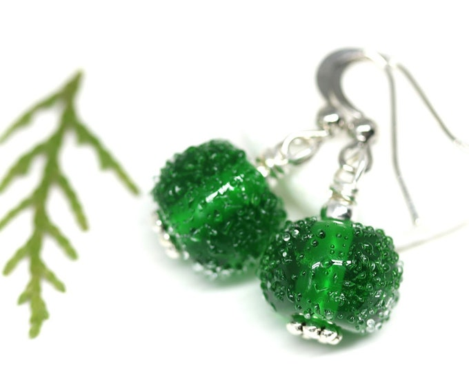 Emerald green Christmas earrings, Handmade Lampwork jewelry, Small beaded glass earrings, Gift for sister girlfriend