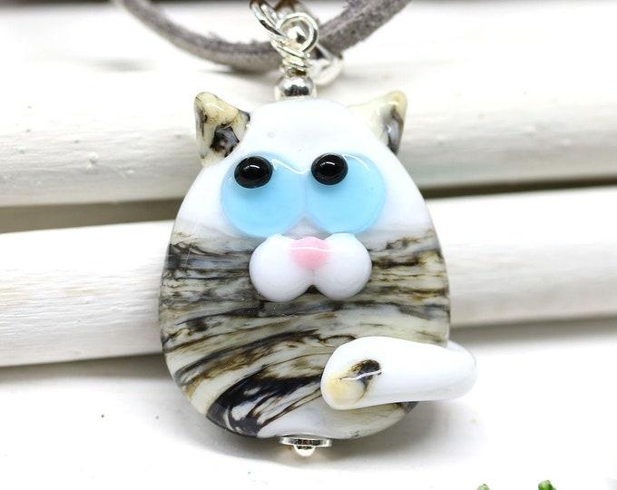 Gray cat necklace, blue eyes kitten pendant, Cat jewelry, Cute animal lover gift, Handmade lampwork glass
