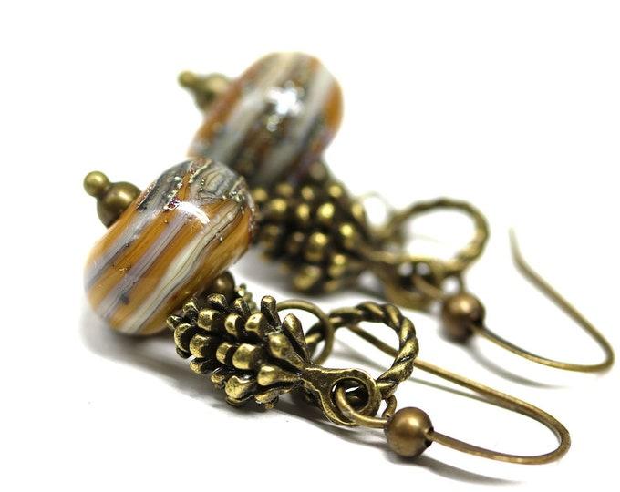 Ocher yellow earrings, Pine cone charms brass earrings, Handmade Lampwork glass jewelry, Yellow ocher dangle earrings