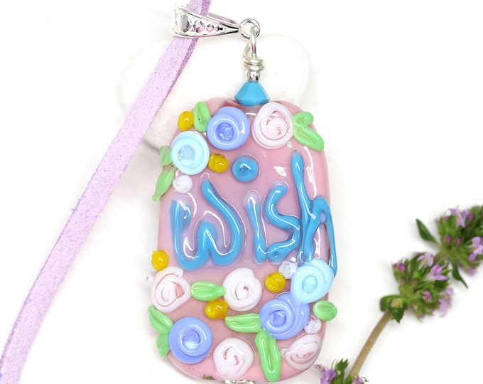 Pink motivation jewelry pendant, Pink blue flower necklace with word Wish, Handmade lampwork glass, Inspiration jewelry by MayaHoney