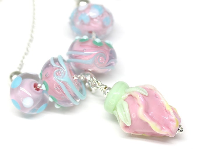 Pink Rose flower necklace, Pink lampwork glass beaded floral necklace, Handmade lampwork jewelry, Sterling silver chain