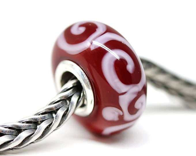 Dark red bracelet bead, European style charm, Red Christmas lampwork glass big hole bead