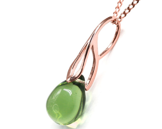 Olive green drop pendant, Olivine glass teardrop pendant, Rose gold chain, Women jewelry by MayaHoney