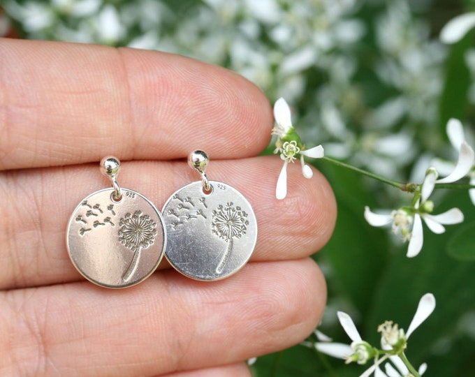 Sterling silver Dandelion stud earrings, Make a wish dandelion seed jewelry, Floral earrings
