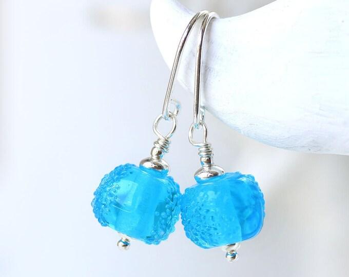Aqua blue small dainty earrings, Sea blue jewelry, Handmade lampwork beaded earrings, Beach glass jewelry