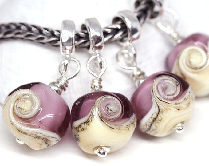 1pc Purple jewelry charm, European bracelet dangle bead, Murano glass jewelry, European style Lampwork bead
