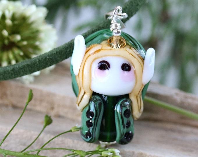 Forest pixie pendant, Fantasy elvish jewelry, Olive green Elf pendant, Handmade lampwork glass by MayaHoney