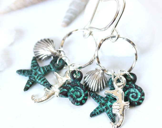 Nautical hoop earrings for women, Silver sea life beach charms jewelry, Seahorse shell starfish ocean earrings