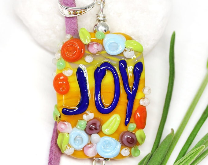 Motivation jewelry, Orange floral necklace with word Joy, Handmade lampwork glass, Inspiration jewelry by MayaHoney