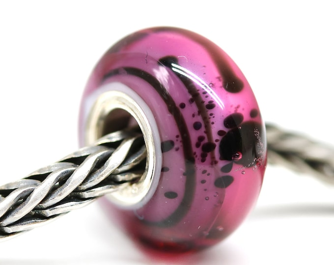 Pink purple European style bracelet charm, Handmade lampwork Large hole glass bead, Hot pink women jewelry