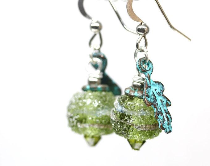 Olive green Leaf earrings, Verdigris patina handmade jewelry, Lampwork glass beaded earrings